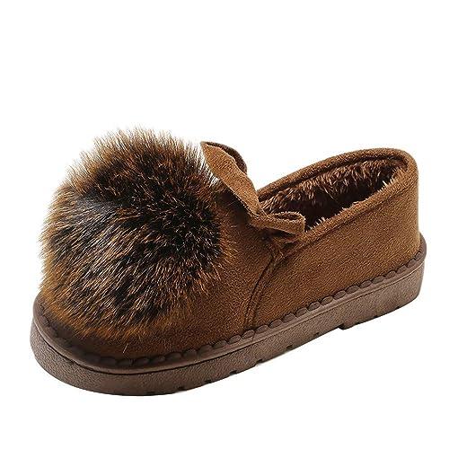 6ea0045dad438 Botas de Nieve para Mujer Invierno Botines Planos Bajos Zapatos de Náuticos  Lana Caliente Señora Casual Calzado Más Terciopelo Dama Otoño Suela Blanda  ...