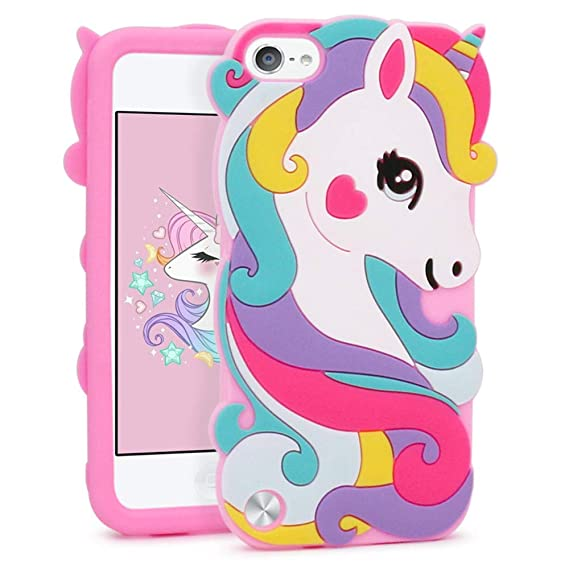 more photos 7b863 62121 iPod Touch 6 Case, iPod Touch 5 Case, 3D Cute Cartoon Colorful Hair Unicorn  Horse Soft Rubber Silicone Shockproof Protective Case Cover for iPod Touch  ...