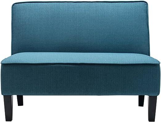 Upholstered Linen Settee Loveseat Sofa Couch Recliner Armless Living Room Green