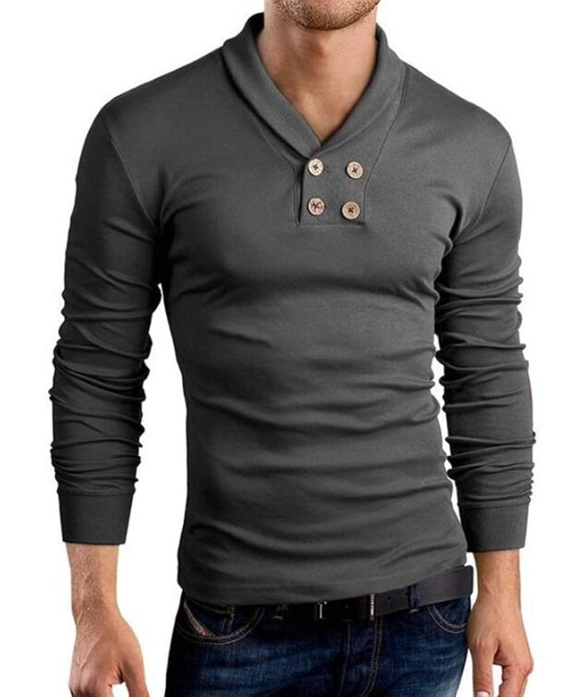 BU2H Men Long Sleeve Double-Breasted V-Neck Comfort Soft Skinny Top Tshirts