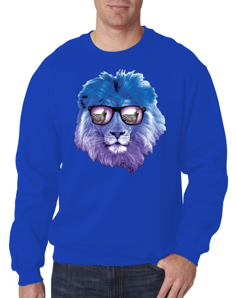 YM Wear Lion Galaxy Logo Glasses with Zebra Casual Hispter Crewneck Sweater 2X-Large Royal Blue