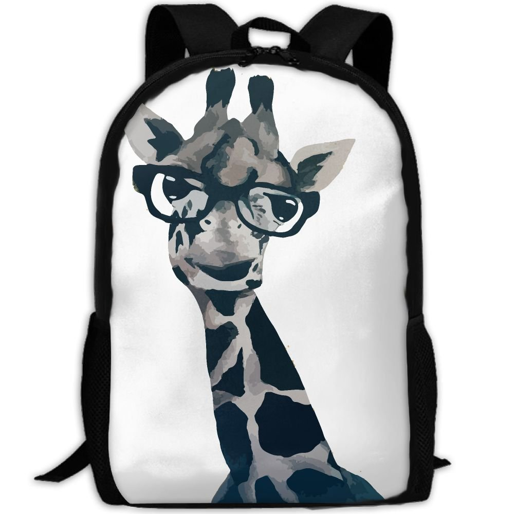 ZQBAAD Funny Giraffe With Glasses Luxury Print Men And Women's Travel Knapsack