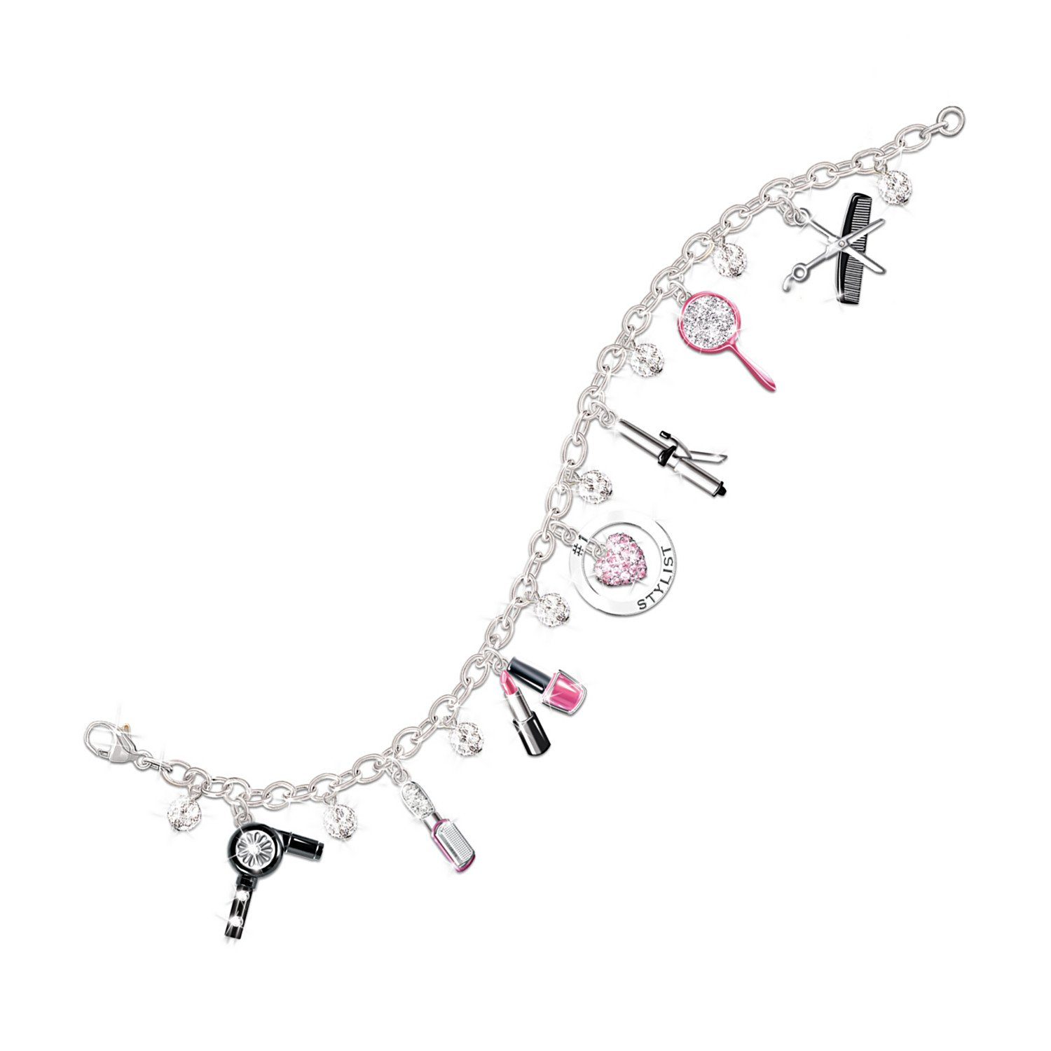 Show Your Style Fashion Sterling Silver-Plated Charm Bracelet: Unique Gift For Her by The Bradford Exchange