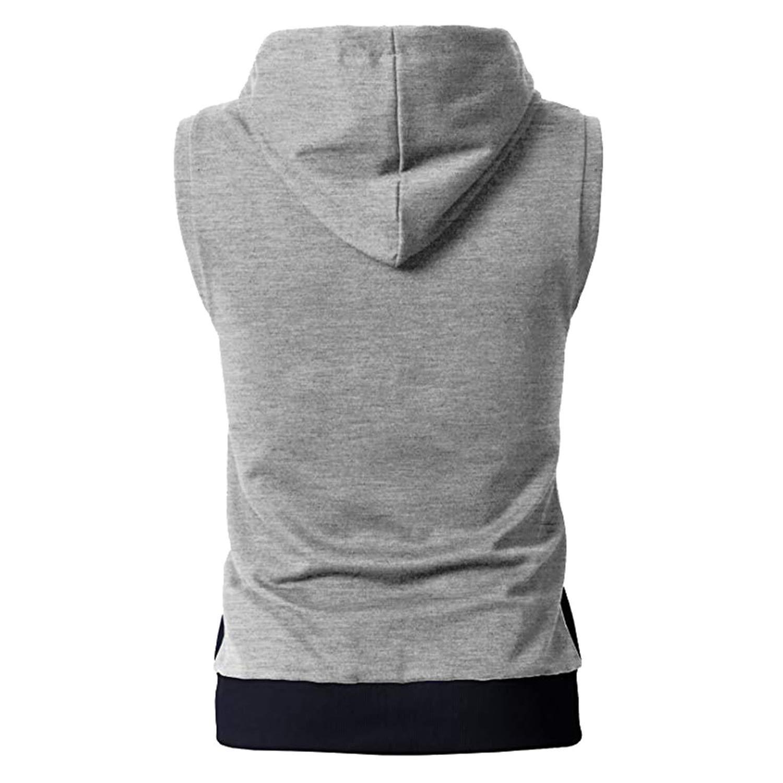 Mens Summer Casual Zip Hooded Sleeveless Vest Top Blouse Men Top Tank Sleeveless Hoodie Men