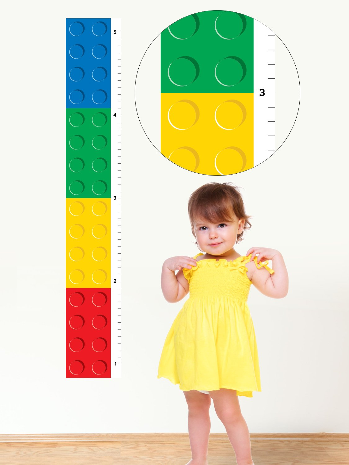 Building Block Growth Chart Fabric Wall Decal - Growth Chart Wall Art - Non-Toxic, Removable, Reusable, Respositionable