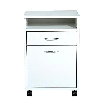 Homcom Cajonera Tipo Archivador Móvil para Organizar Documentos en Oficina o Hogar Tiene 3 Compartimientos con Ruedas y Freno Color Blanco 40x35x60cm.