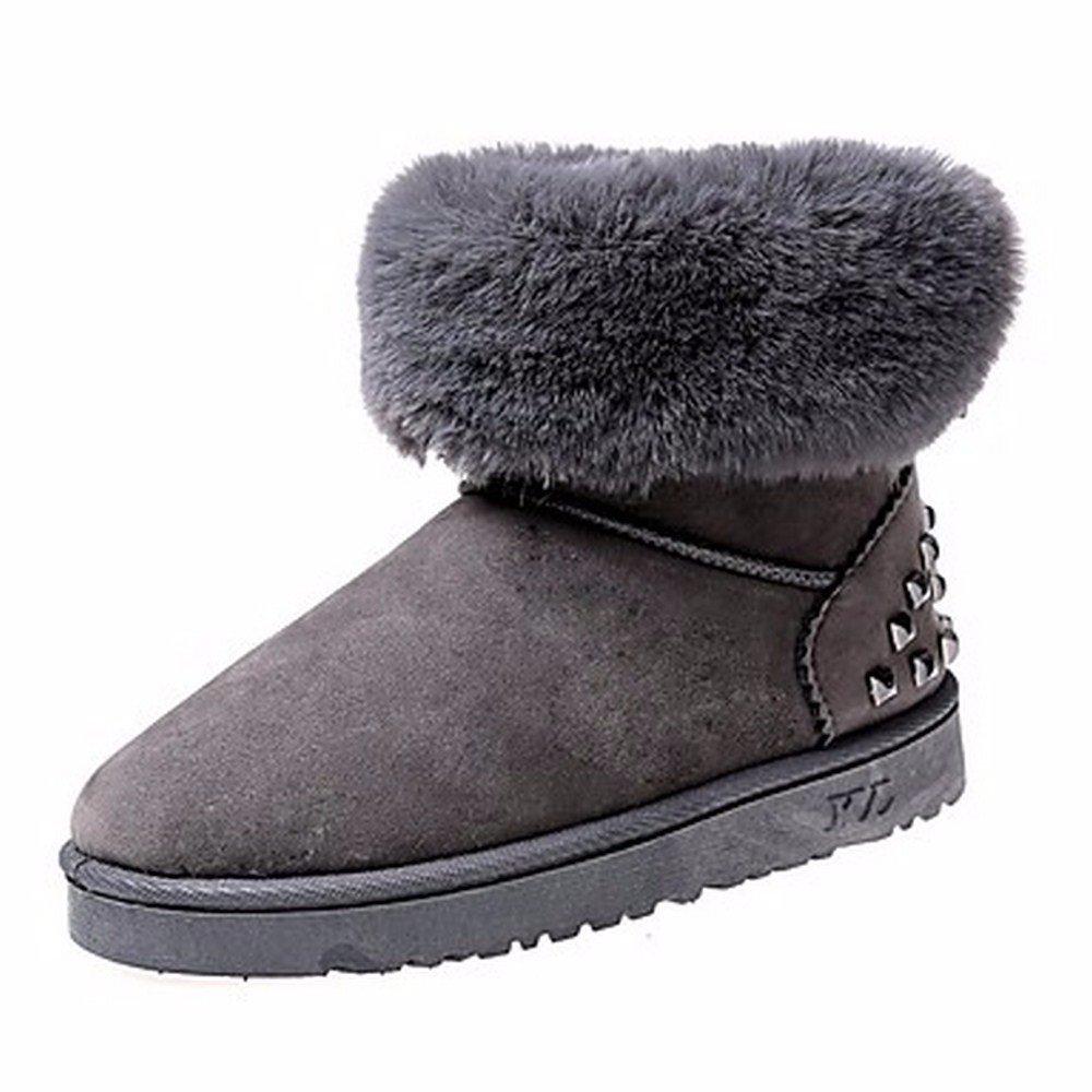 ZHUDJ Zapatos De Mujer Otoño Invierno Botas De Nieve Botas De Tacón Puntera Redonda Plana Para Remache Negro Gris Marrón Ocasional US6 / UE36 / UK4 / CN36|Gray