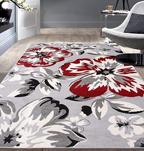 Modern Floral Area Rugs 10' x 14' Red