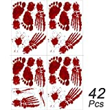 Enthur 42PCS Bloody Footprints Halloween Window Wall Floor Clings - Halloween Vampire Zombie Party Decorations Hand Print Decals Stickers Supplies