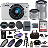 Canon M100 Mirrorless Camera White w/ 15-45mm & 55-200mm Lenses + 16GB SD Card Bundle
