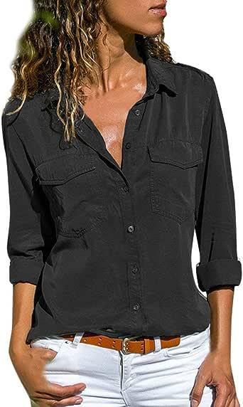 Camisa Mujer Blanca Manga Larga Talla Grande Negra Sexy Cuadros Corta Vestir Botones Gasa Verano Vaquera Verde Azule Blusas para Mujer Elegantes Fiesta Camisetas POLP (L, Negro): Amazon.es: Ropa y accesorios