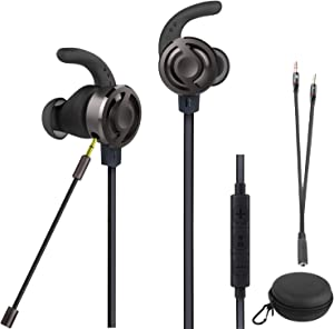 2019 Wired Gaming Earphone, Megadream Noise Cancelling Stereo Bass Gaming Earbuds E-Sport Earphone with Detachable Adjustable Mic, 3.5mm Jack, Desktop Adapter, for PS4/Xbox One/Laptop/Phone