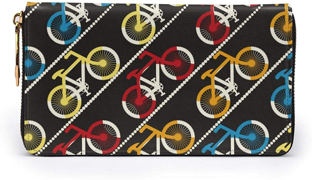 Colorful Bicycles Traffic Womens Genuine Leather Wallet Zip Around Wallet Clutch Wallet Coin Purse