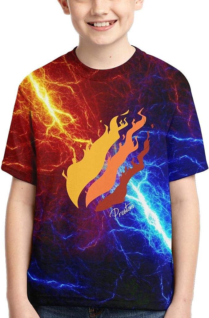 FAAVC Preston Playz Fire Nation Gamer Flame Shirts Crew Neck Short Sleeve T-Shirt for Boys Girls Youth