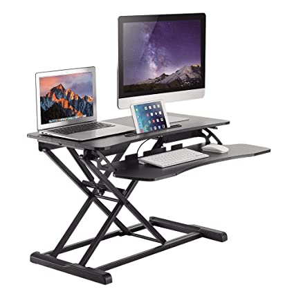 Height Adjustable Standing Desk Sit to Stand Desk,Standing Up Computer  Riser with Removable Keyboard Tray for Dual  Monitors/Computer/Laptop Ergonomic