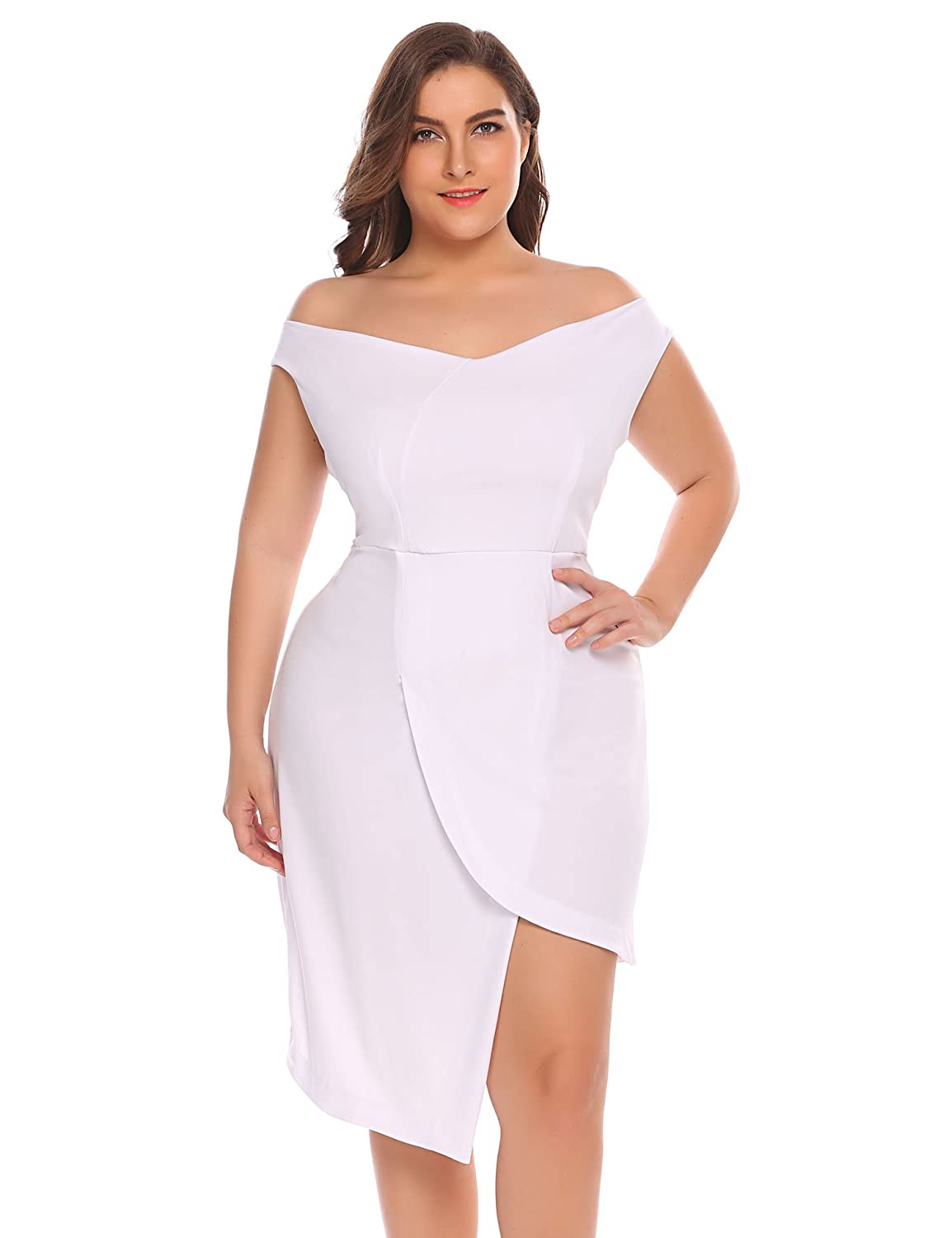 647c9d29ee Zeagoo Womens Plus Size Off Shoulder Asymmetrical Elegant Strapless Party  Cocktail Dress at Amazon Women's Clothing store:
