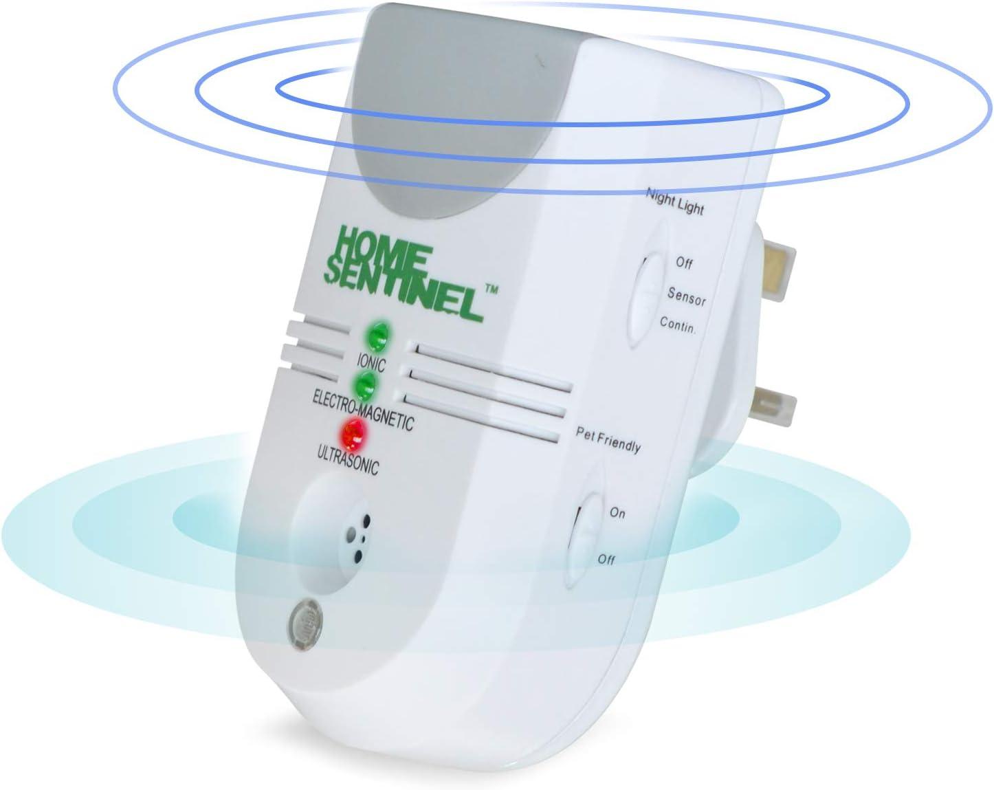 Repelente Ultras/ónico de Plagas con Electromagn/ético Home Sentinel 5-en-1 Repelente de Control de Plagas para Interiores Enchufable Ionizador y Luz Autom/ática para Moscas(Enchufe del Reino Unido)