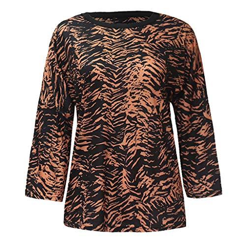 (Hot Sale!UMFun Fashion Women O-Neck Long Sleeve Leopard Casual Tops Tee)