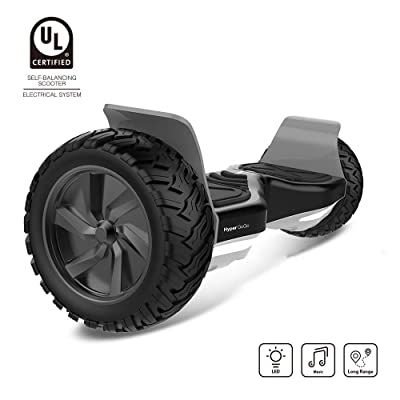 "HYPER GOGO 8.5 Inch Big Wheel Hoover Board Electric Balance Scooter with Bluetooth LED- Bluetooth Speaker- UL 2272 Certified (Racing Tires Black+White, 8.5""): Sports & Outdoors"