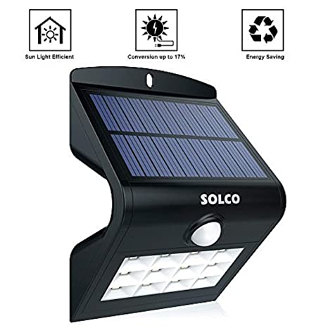 Solco Lámpara solar con sensor de movimiento, ideal para exteriores en porches,