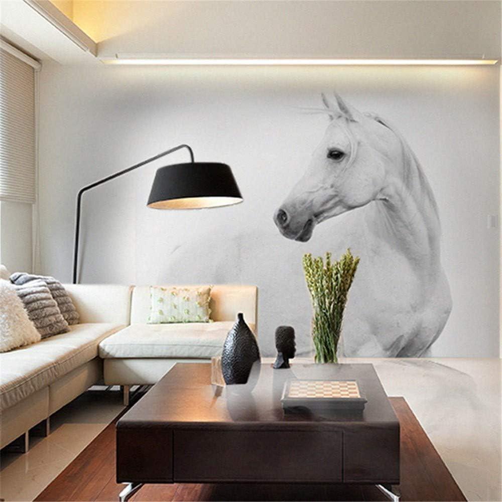 Mural PapelPintado Lienzo8D Papel Mural Decoración De La Pared Del Caballo Blanco Mural De La Pared 3D Animal Papel Pintado Mural De La Foto Murales Fotográficos Para El Fondo Del Sofá Del Dormitor