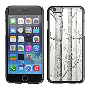 FECELL CITY // Duro Aluminio Pegatina PC Caso decorativo Funda Carcasa de Protección para Apple Iphone 6 // Forest Nature Drawing Landscape