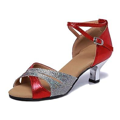 LSHEL Damen Latin Dance Shoes High Heel Sandale Ballschuhe