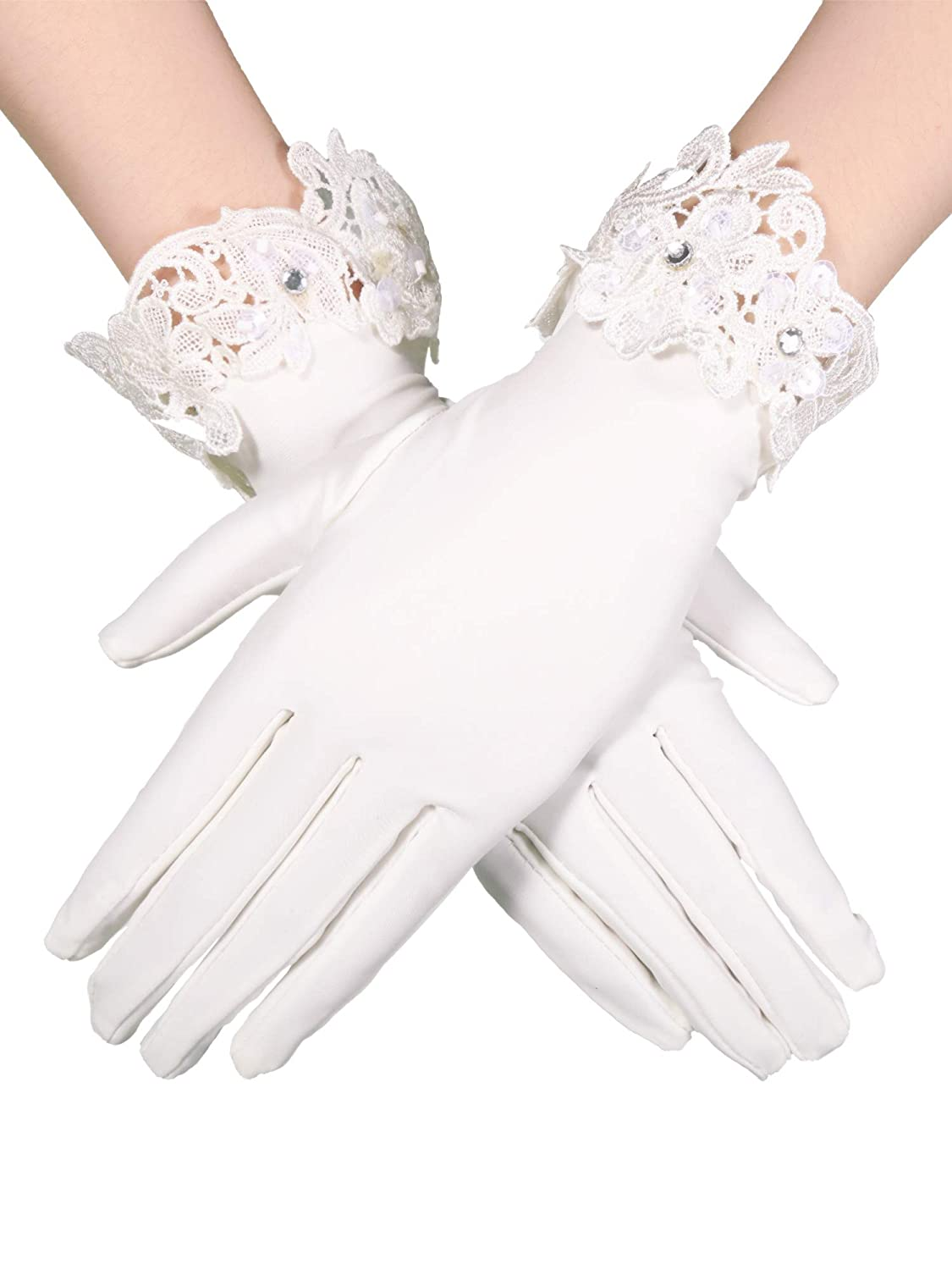Vintage Gloves History- 1900, 1910, 1920, 1930 1940, 1950, 1960 Sumind Short Satin Gloves Wrist Length Gloves Womens Gown Gloves Opera Wedding Banquet Dress Glove for Party Dance $6.99 AT vintagedancer.com