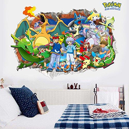 3D Amazing Pokemon Go Pikachu Wall Decals Sticker Vinyl Mural Kids Room Decor 19
