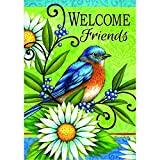 """Cheap """"Bluebird Welcome"""" – Spring /Summer – STANDARD Size, 28 Inch X 40 Inch, Decorative Double Sided Flag – Exclusively Made in the USA – Copyrights and Licensed by Custom Decor Inc."""