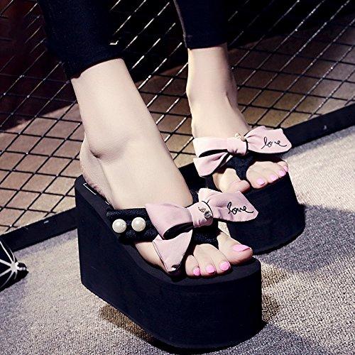 Chanclas MEIDUO sandalias 12cm Zapatillas De Tacón Alto De Verano Femenino (Azul/Negro/Gris/Rosa) cómodo Pink
