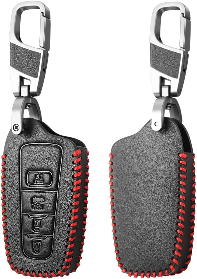 Genuine Leather 4 Buttons Smart Key Fob Protector Remote Skin ...