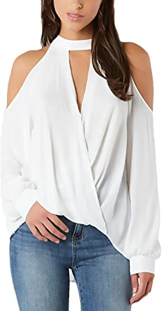 Camisetas Mujer Manga Larga V Cuello Hombros Descubiertos T Shirt Anchas Casual Color Sólido Camiseta Tops Blusas: Amazon.es: Ropa y accesorios
