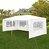 Tangkula 10'x20' Wedding Tent 4 Walls with Window BBQ Party Outdoor Canopy Tent White