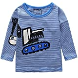 Frogwill Toddler Boys Excavator Long Short Sleeve Cartoon T Shirt Size 2-7 Years (4T, Blue2)