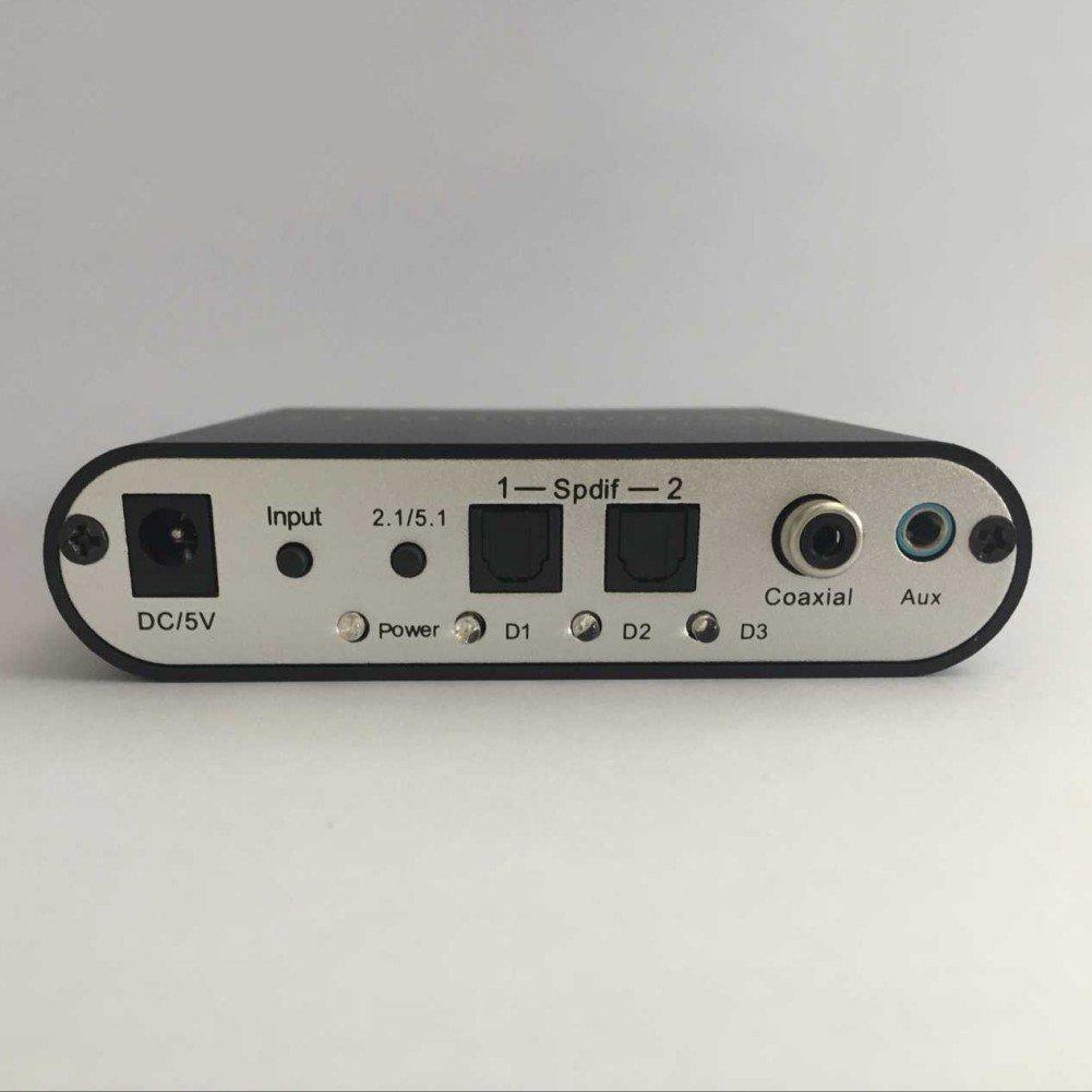 Yusun decodeur Audio Numerique - converti los formatos de audio DTS, AC-3, Dolby Pro Logic, PCM, en formato analógica 5.1. Conectar votre Xbox 360, PS2, ...