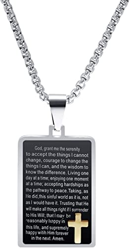 Men/'s Bible Cross Dog Tag Pendant Necklace Stainless Steel Jewelry Silver