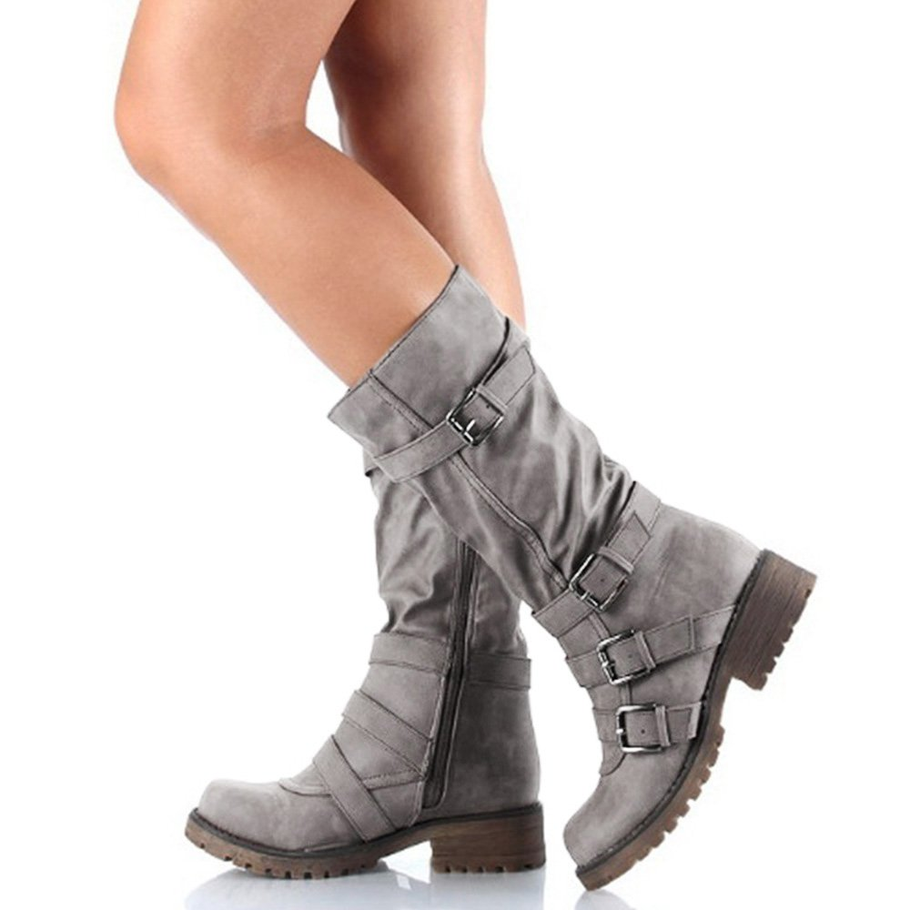 Rainlin Women's Mid-Calf Boots Suede Buckles Riding Boots Size 7.5 Grey by Rainlin (Image #1)