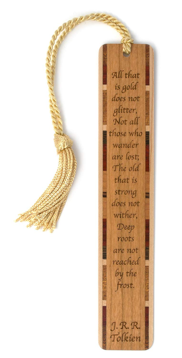 J.R.R. Tolkien Quote - Not All Who Wander are Lost - Engraved Wooden Bookmark with Tassel
