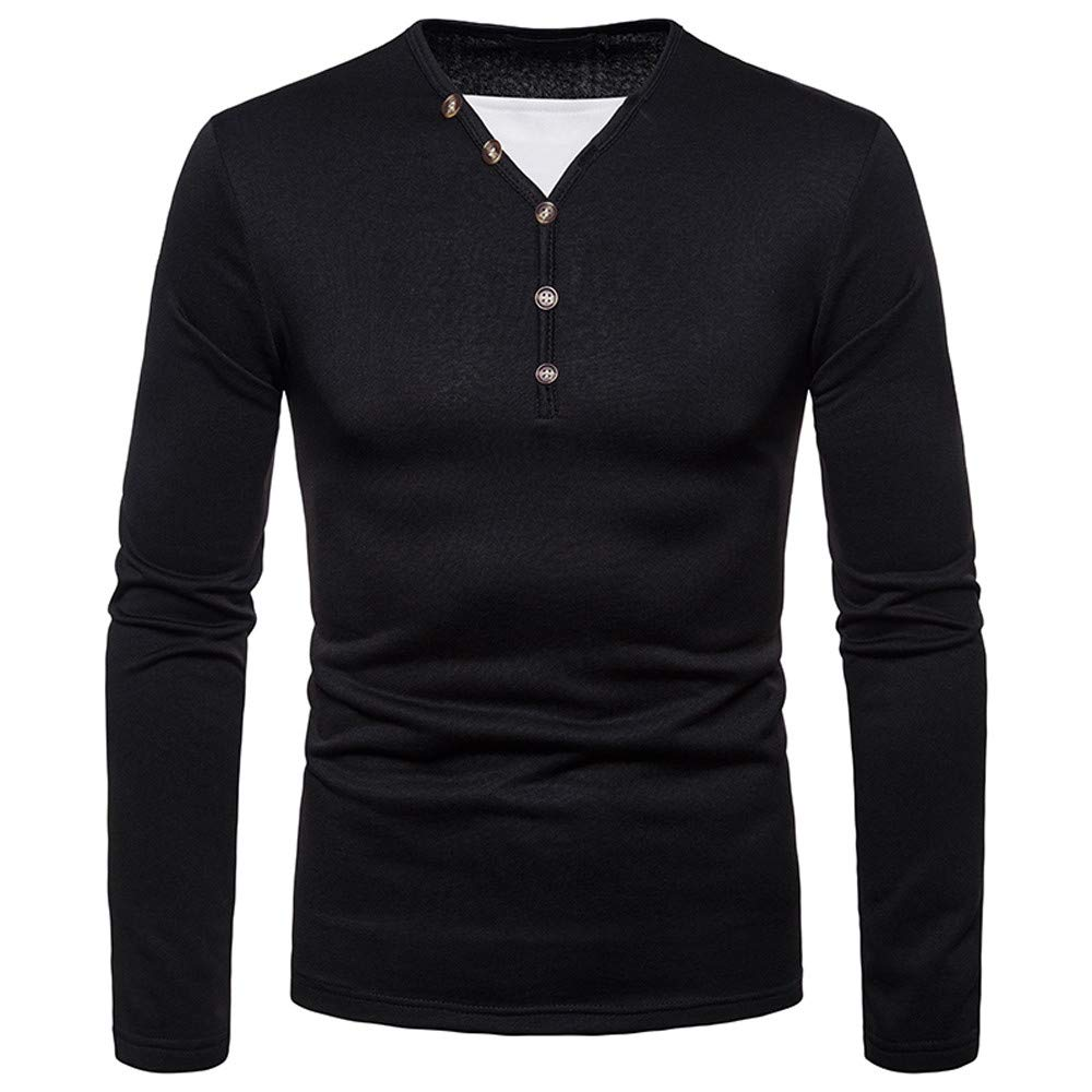 Lmtime Men's Autumn Winter Blouse Casual Brushed Top V-Neck Muscle Slim Casual Fit Long Sleeve Button Shirt(Black,L)