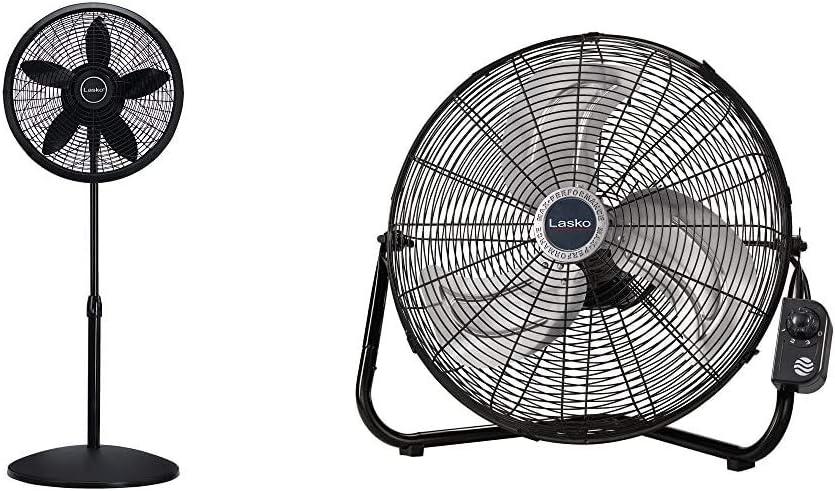 "Lasko 1827 18″ Elegance & Performance Adjustable Pedestal Fan, Black & 20"" High Velocity QuickMount, Easily Converts from a Floor Wall Fan, 7 x 22 x 22 inches, Black 2264QM"