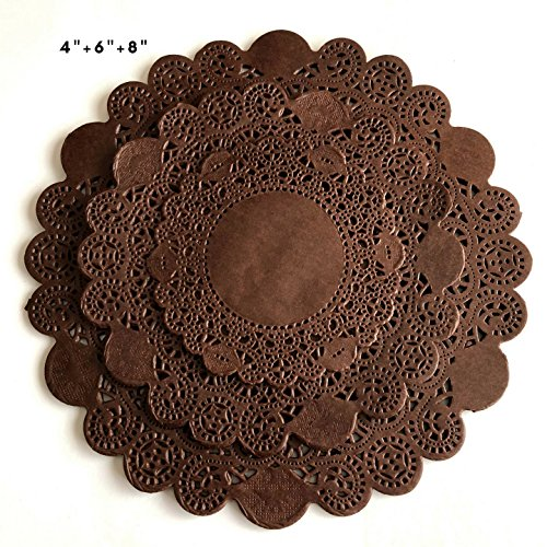 (150Pcs Brown Glassine Paper Doilies, Round Assorted Size 4