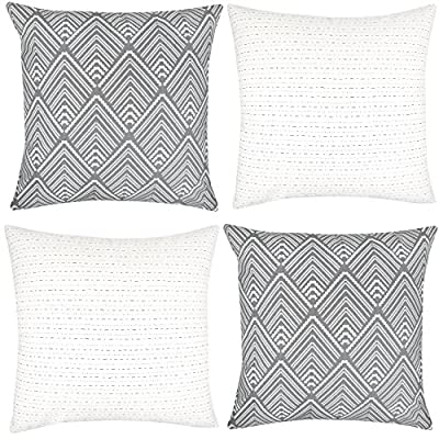 Woven Nook Decorative Throw Pillow Covers For Couch, Sofa, or Bed Set Of 4 18 x 18 inch Modern Quality Design 100% Cotton Stripes Geometric mud cloth Brixton Set