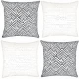 Decorative Pillow Cover - Woven Nook Decorative Throw Pillow Covers For Couch, Sofa, or Bed Set Of 4 18 x 18 inch Modern Quality Design 100% Cotton Stripes Geometric mud cloth Brixton Set