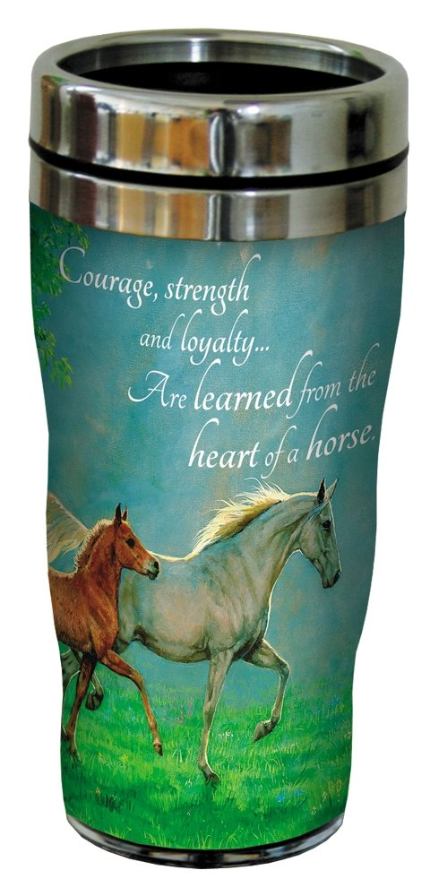 Courage, Strength, Loyalty Horse Travel Mug, Stainless Lined Coffee Tumbler, 16-Ounce - Gift for Horse People and Lovers - Tree-Free Greetings 25858