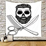 iPrint Polyester Tapestry Wall Hanging,Indie,Hipster Skull with Hairstyle Beard and Mustache Comb