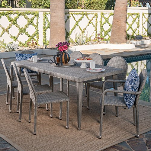 Aurora Outdoor 9 Piece Chateau Grey Wicker Dining Set with Armed and Armless Aluminum Framed Stacking Chairs
