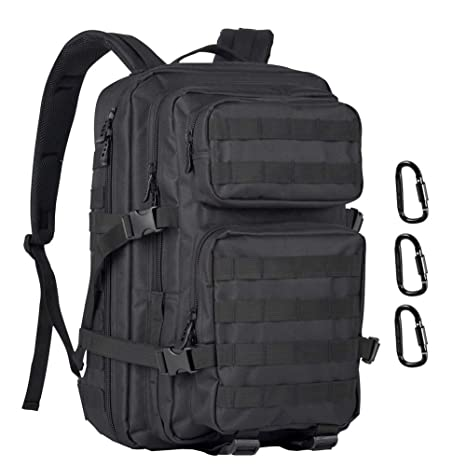 40L Military Tactical Backpack with 3 Pack D-Ring Screw Locking Assault Pack  Army Molle 20b3a67532d1b