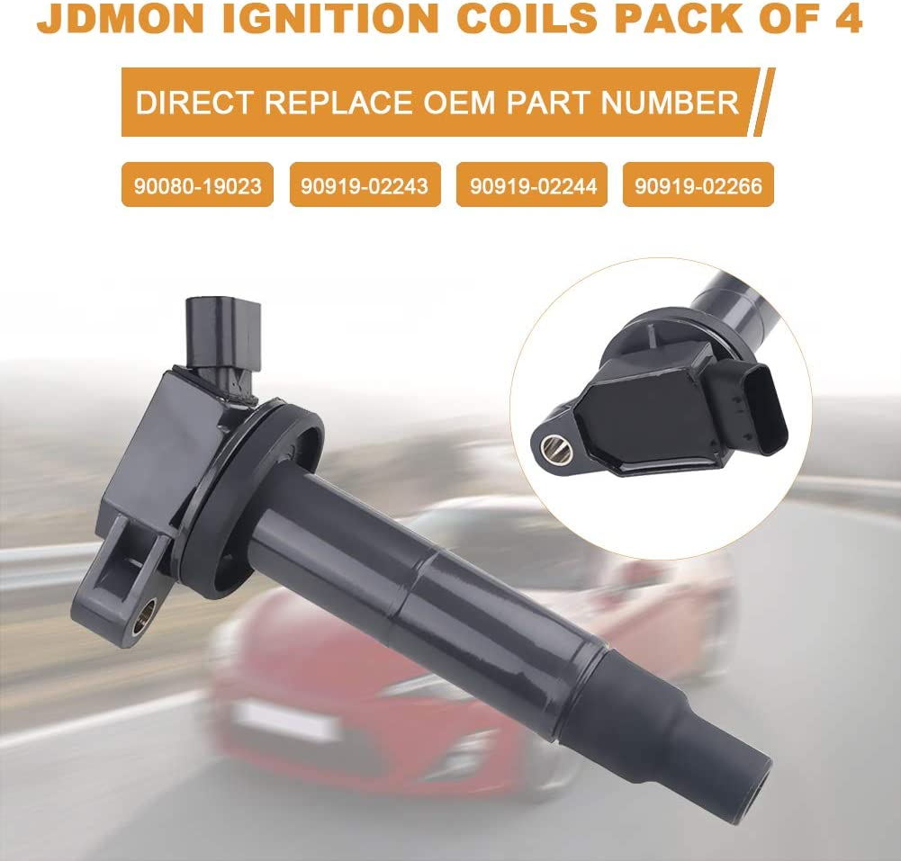 JDMON Ignition Coils Pack of 4 Compatible with 2001-2012 Toyota Camry RAV4 Solara Matrix Highlander for Lexus HS250h Scion TC 2.0L 2.4L L4 90919-02244 UF333