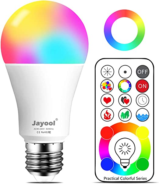 Jayool 10W E27 120 Multi Colours RGBW Colour Changing LED Light Bulb, Edison Screw Remote Control Bulb and Timing, RGB+Daylight White (6500K) 3rd